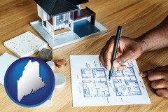 maine map icon and architect with model home and floor plans