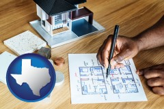 texas map icon and architect with model home and floor plans