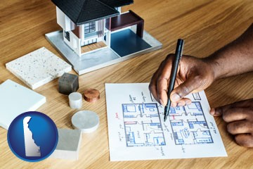 architect with model home and floor plans - with Delaware icon
