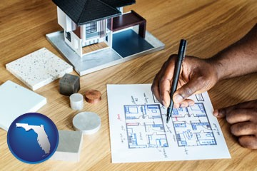 architect with model home and floor plans - with Florida icon