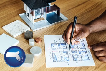architect with model home and floor plans - with Massachusetts icon